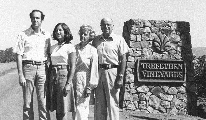 From left, John and Janet Trefethen standing with Eugene and Catherine Trefethen